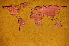 Free Brick World Map On Wall Stock Photography - 14049232