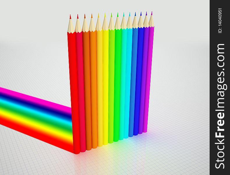 Colour pencils and Rainbow