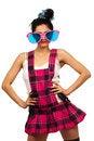 Free Girl Wearing Large Pink Eyeglasses Royalty Free Stock Images - 14050639
