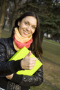 Free Female In The Park With A Folder Royalty Free Stock Photo - 14052485