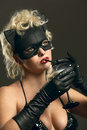 Free Blond Girl Wearing Black Cat, Drinking Milk Royalty Free Stock Image - 14054066