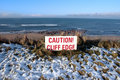 Free Red Caution Sign On Hazardous Cliff Edge Royalty Free Stock Photos - 14054068