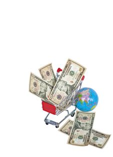 Free A Shopping Cart And Money Royalty Free Stock Photos - 14050238