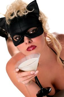 Free Blond Model Wearing Black Cat, Drinking Milk Stock Image - 14050351