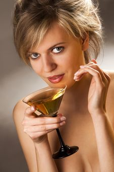 Free Woman With Glass Of Cocktail Royalty Free Stock Image - 14050406