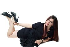 Free Lying Pin-up Girl In Black Isolated On White Stock Photo - 14050440