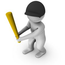 Free 3d Baseball Player Royalty Free Stock Photography - 14051247