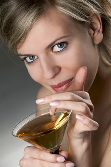 Free Woman With Glass Of Cocktail Royalty Free Stock Images - 14051519