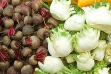 Close Up Of Vegetables On Market Stand Royalty Free Stock Images