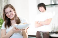 Free Girl With Plate And Boy Royalty Free Stock Photography - 14052327