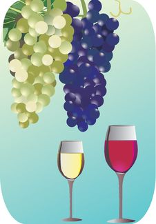 Free White And Red Wine On Blue Royalty Free Stock Photo - 14052635