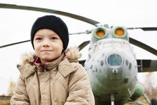 Boy And Helicopter Stock Photography