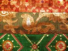 Ethnic Work On Silk Fabric Royalty Free Stock Photo