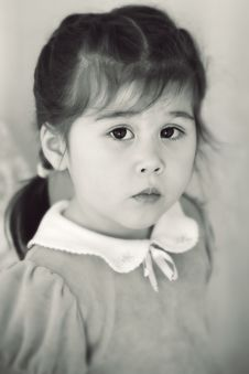 Portrait Of Pretty Little Girl In Classic Style Stock Images