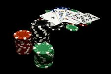Free Royal Flush Woning Chips Stock Photos - 14053133