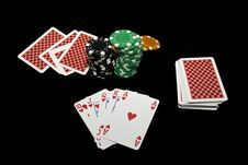 Free Royal Flush And Chips Stock Image - 14053181