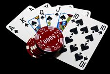 Free Royal Flush And Chips Royalty Free Stock Image - 14053196