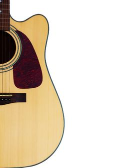 Free Acoustic Guitar On A White Background Stock Image - 14053251