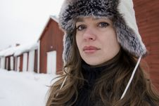 Free Winter Portrait Of Young Beautiful Woman Royalty Free Stock Photography - 14053367
