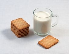 Glass Cup Of Milk And Cookies Royalty Free Stock Image