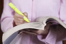 Businesswoman With Yellow Marker Stock Photography