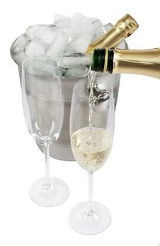 Free Champagne With Ice Cooler Stock Photo - 14053600