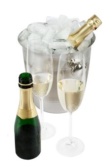 Free Champagne With Ice Cooler Royalty Free Stock Image - 14053606