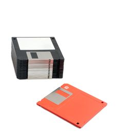 Free Stack Of Black Floppy Disks And One Red Stock Photography - 14053712