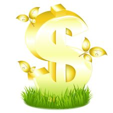 Free Golden Dollar Sign With Leaves. Vector Royalty Free Stock Images - 14053739
