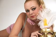 Free Blond Woman With Carnival Mask Stock Photo - 14054040
