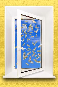 Free Window Opening To The Blue Sky. Royalty Free Stock Photography - 14054107