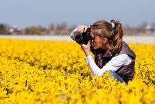 Free Girl Making Pictures Of Flowers Stock Images - 14054174