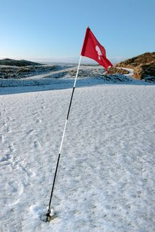 Snow Covered Links Golf Course Flag Royalty Free Stock Photography