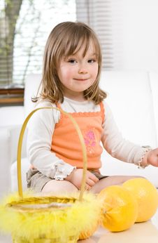 Free Little Girl With Fruits Royalty Free Stock Photos - 14054258