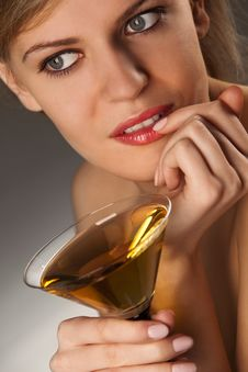 Free Woman With Glass Of Cocktail Royalty Free Stock Photo - 14054285