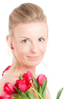 Free Young Woman With Bunch Of Tulips Royalty Free Stock Image - 14054346