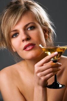 Free Woman With Glass Of Cocktail Stock Photo - 14054370
