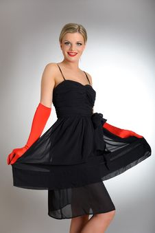Sexy Fashion Woman With Red Gloves In Dress Royalty Free Stock Images