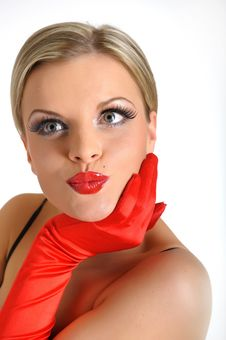 Free Young Beauty Female Face With Red Shiny Lips Stock Image - 14054511