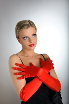 Free Sexy Fashion Woman With Red Lips And Gloves Stock Photography - 14054532