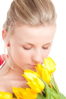 Free Young Woman With Bunch Of Tulips Royalty Free Stock Photo - 14054595
