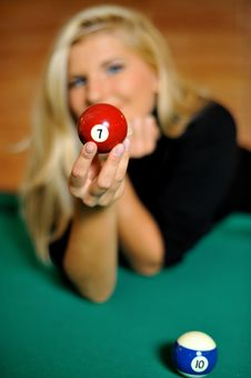 Free Beautiful Woman Holding A Billiard Ball Stock Photos - 14054603