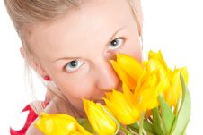 Free Young Woman With Bunch Of Tulips Royalty Free Stock Image - 14054706