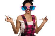 Free Girl Wearing Large Pink Eyeglasses Stock Photography - 14054882