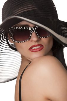 Free Model In Striped Hat And Sunglasse Royalty Free Stock Images - 14055199
