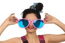 Free Girl Wearing Large Pink Eyeglasses Royalty Free Stock Photography - 14055207