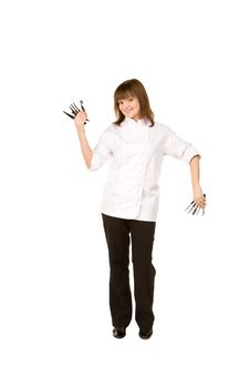 Free Cook Girl Holding Many Knife Stock Photo - 14055650