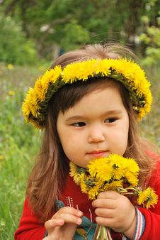 Wearing A Dandelion Diadem Royalty Free Stock Image