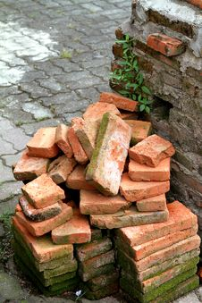 Pile Of Brick On Ruins Royalty Free Stock Photo