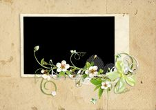 Free Old Paper Frame With Apple Tree Flowers Stock Photos - 14057033